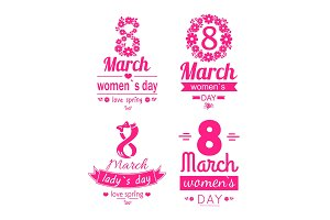 Posters Set Women Day March 8 Greeting Card Vector