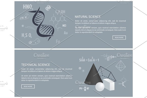 Natural And Technical Science Vector Illustration