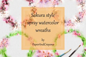 Cherry Blossom Watercolor Wreaths