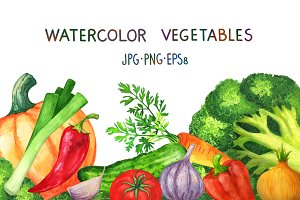 Watercolor set of vegetables