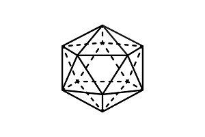 Icosahedron Isolated Black Three-Dimensional Shape