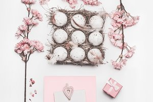 Beautiful pastel pink Easter layout