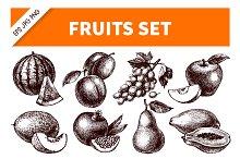 Hand Drawn Sketch Fruits Set