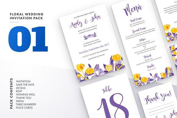 Floral Wedding Invitation Set Vol.1