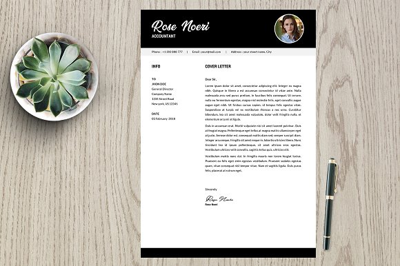 Resume Template 2 Page Pack Rose