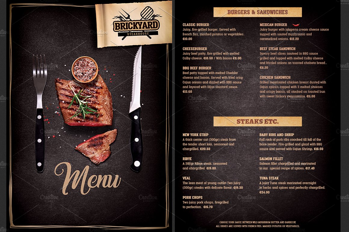 grill restaurant menu template brochure templates creative market. Black Bedroom Furniture Sets. Home Design Ideas