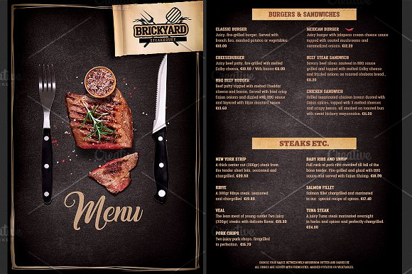 grill restaurant menu template brochure templates creative market