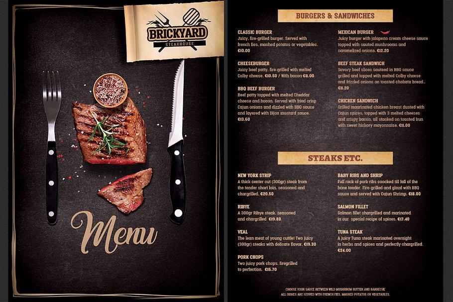 Food Menu Template | Steak House Food Menu Brochure Templates Creative Market