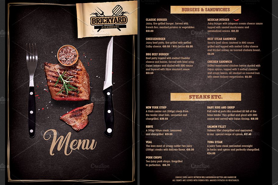 Grill Restaurant Menu template - Brochure Templates | Creative ...
