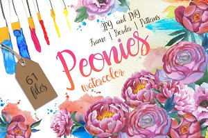 Colorful peonies JPG watercolor set