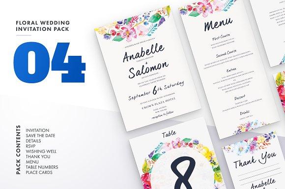 Floral Wedding Invitation Set Vol.4