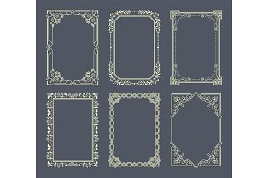 Vignettes Set of Vintage Photo Frames Vector Icons