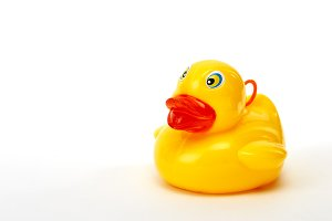 yellow bath duck isolated on white