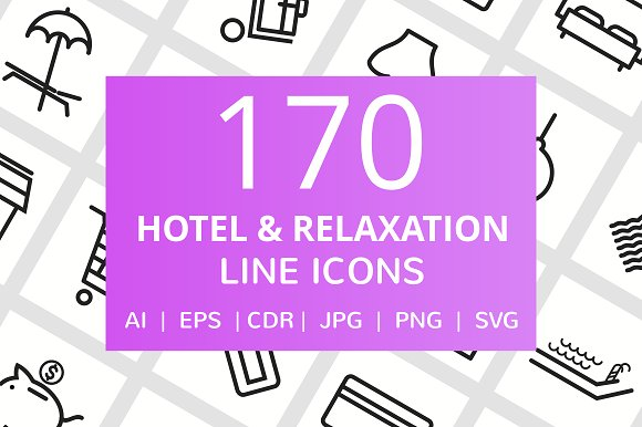 170 Hotel Relaxation Line Icons