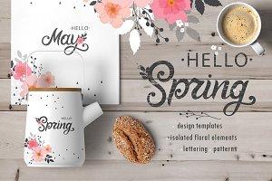 Spring Set - templates, lettering...
