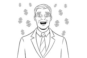 Businessman with dollar sign in eyes coloring book