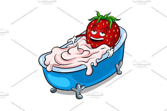 Strawberry And Bath Of Cream Pop Art Vector