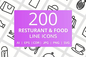 200 Restaurant & Food Line Icons