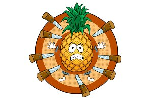 Pineapple target pop art vector illustration