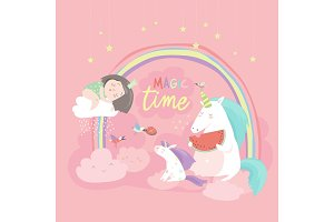 Cute cartoon girl with unicorns