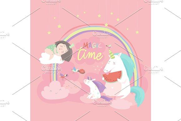 Cute Cartoon Girl With Unicorns