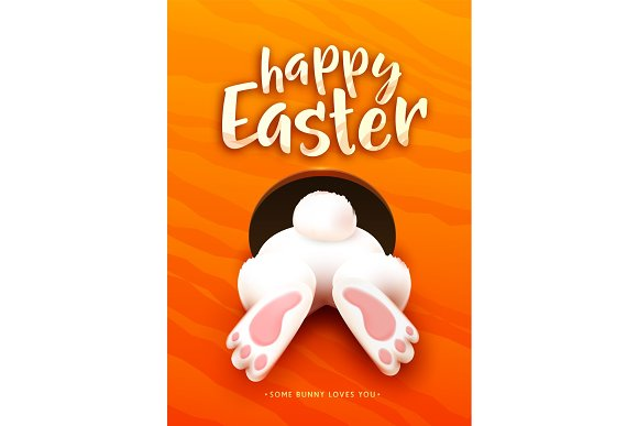Happy Easter Greeting Card With Funny Easter Bunny Ass Foot Tail In The Hole