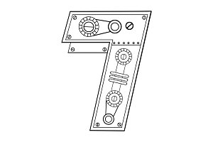 Mechanical number 7 engraving vector illustration