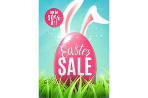 Easter sale banner with egg, easter bunny ears, discount sticker up to 50 off