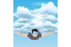 Skydiver man flying in the blue cloudy sky. Character illustration. Sky diving cartoon sportsman.