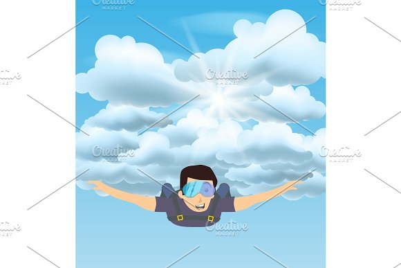 Skydiver Man Flying In The Blue Cloudy Sky Character Illustration Sky Diving Cartoon Sportsman