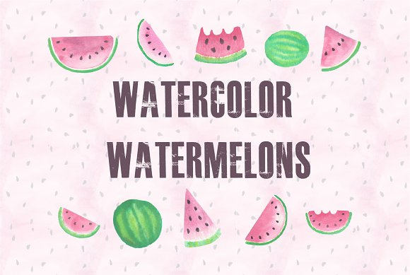 Hand Painted Watercolor Watermelons
