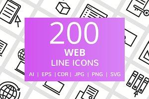 200 Web Line Icons