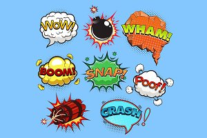 Comic speech bubbles. Sound effects.