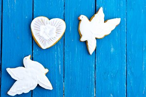 Two white pigeons and a heart. Ginge