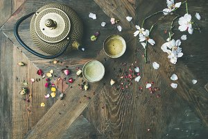 Flat-lay of Traditional Asian tea ceremony arrangement, copy space