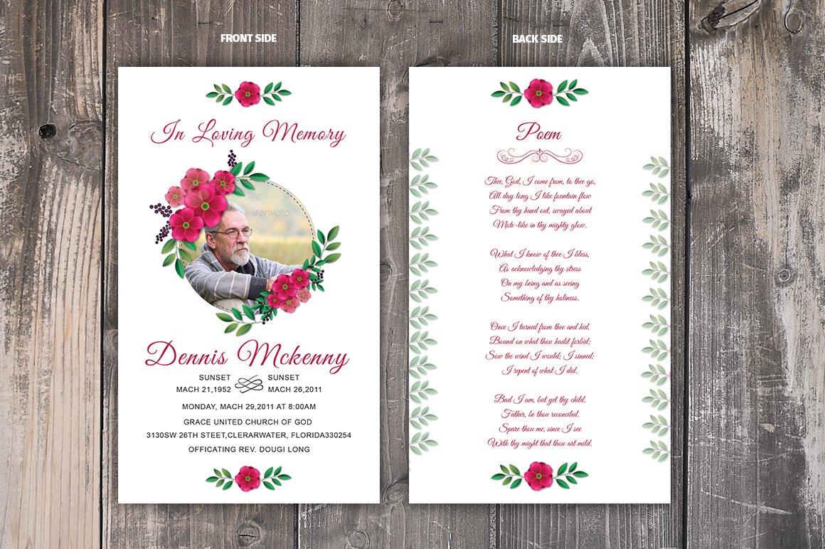 Funeral Prayer Card Template In Memorial Card Template Word