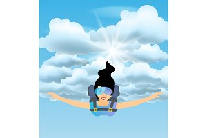 Skydiver woman flying in the blue cloudy sky. Vector female character. Sky diving cartoon sportsman.