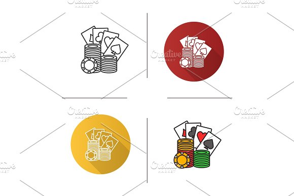Casino Chips Stack With Playing Cards Icon