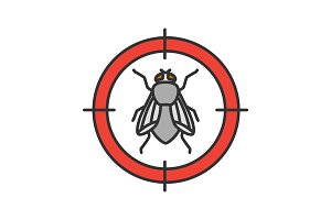 Housefly target color icon