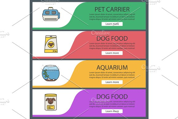 Pets Supply Web Banner Templates Set