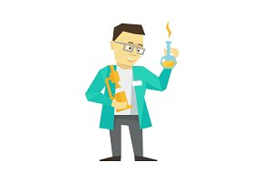 Person scientist inventor business man. The chemist clever with bulb and microscope in a dressing-gown with glasses. Flat color vector illustration.