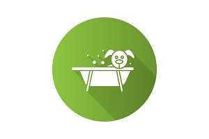 Bathing dog flat design long shadow glyph icon