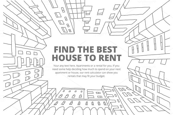 Background For Text On The Rental Of Real Estate Sketch Apartment House In A Circle Frame Hand Drawn Black Line Flat Vector Illustration Stock Clipart