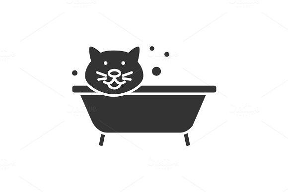 Bathing Cat Glyph Icon