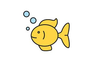Aquarium fish color icon