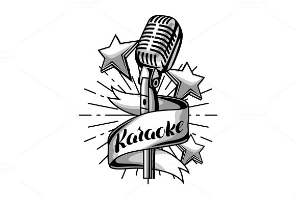 Karaoke Party Label Music Event Background Illustration With Microphone In Retro Style