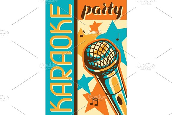Karaoke Party Poster Music Event Banner Illustration With Microphone In Retro Style