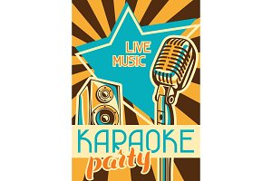 Karaoke party poster. Music event banner. Illustration with microphone and acoustics in retro style
