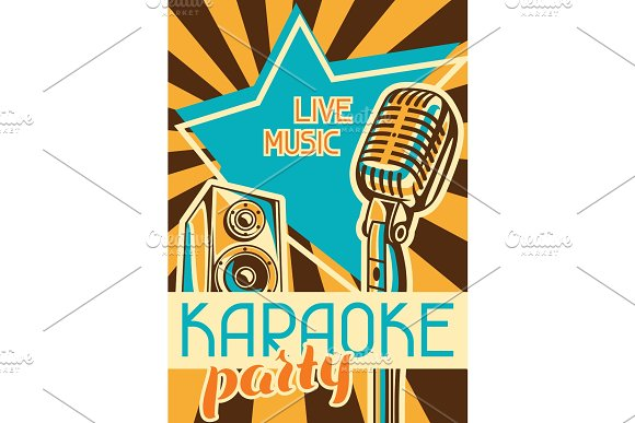 Karaoke Party Poster Music Event Banner Illustration With Microphone And Acoustics In Retro Style