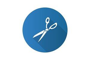 Fabric scissors flat design long shadow glyph icon